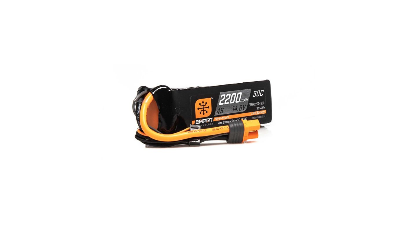 Image for 14.8V 2200mAh 4S 30C Smart LiPo Battery, IC3 from HorizonHobby