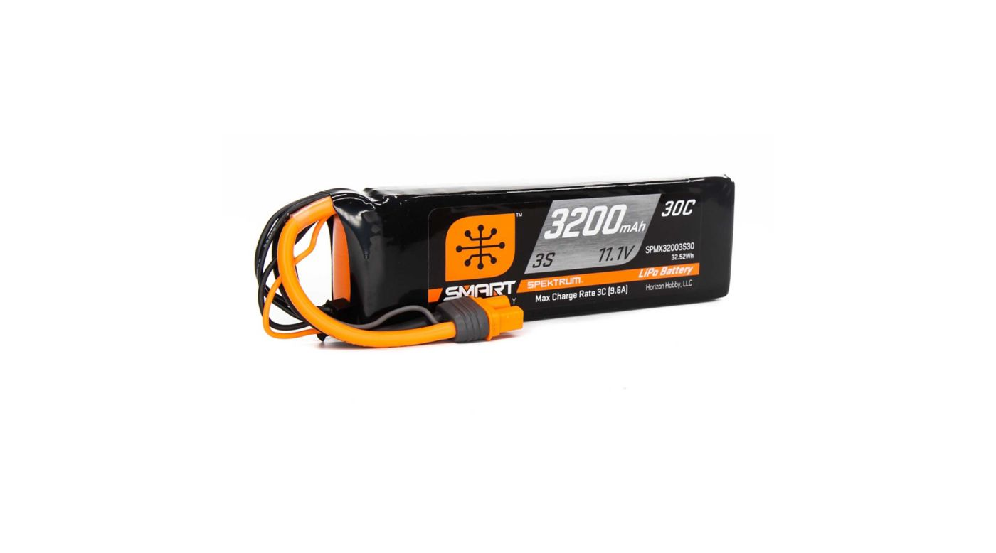 Image for 11.1V 3200mAh 3S 30C Smart LiPo Battery, IC3 from Horizon Hobby