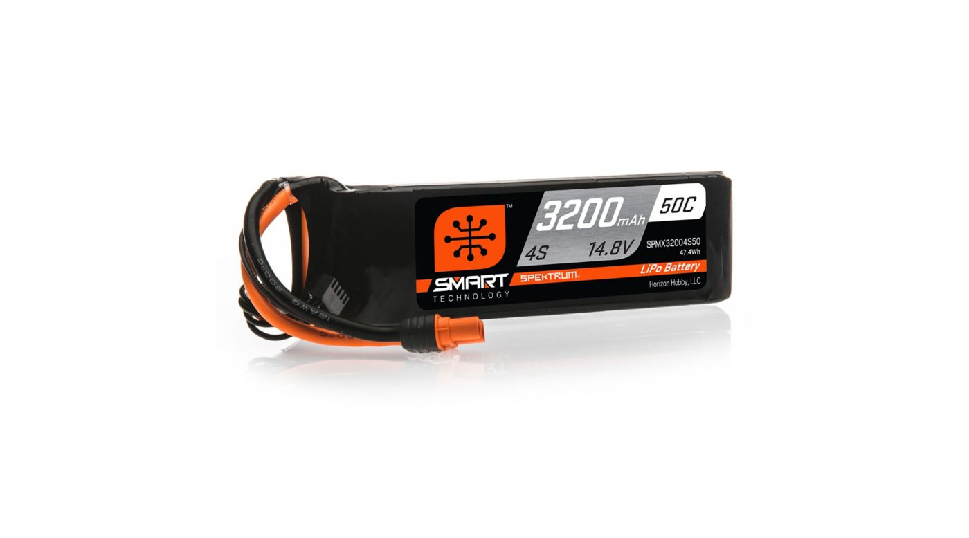 Image for 14.8V 3200mAh 4S 50C Smart LiPo Battery, IC3 from HorizonHobby