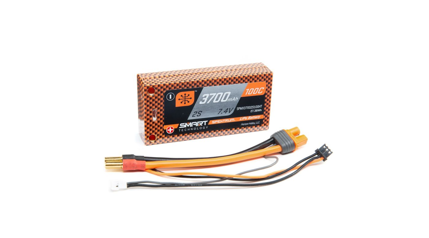 Image for 7.4V 3700mAh 2S 100C Smart LiPo Race Battery, Shorty Hardcase, 5mm Tubes from HorizonHobby