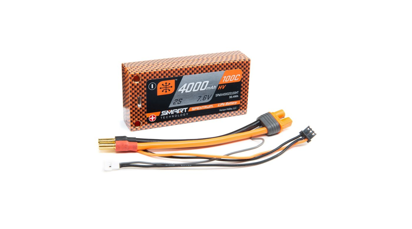 Image for 7.6V 4000mAh 2S 100C Smart Race Shorty Hardcase HV-LiPo Battery: Tubes, 5mm from Horizon Hobby