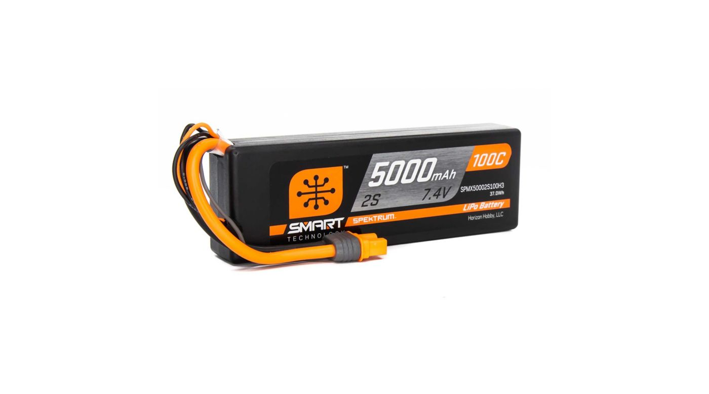 Image for 7.4V 5000mAh 2S 100C Smart LiPo, Hardcase IC3 from HorizonHobby