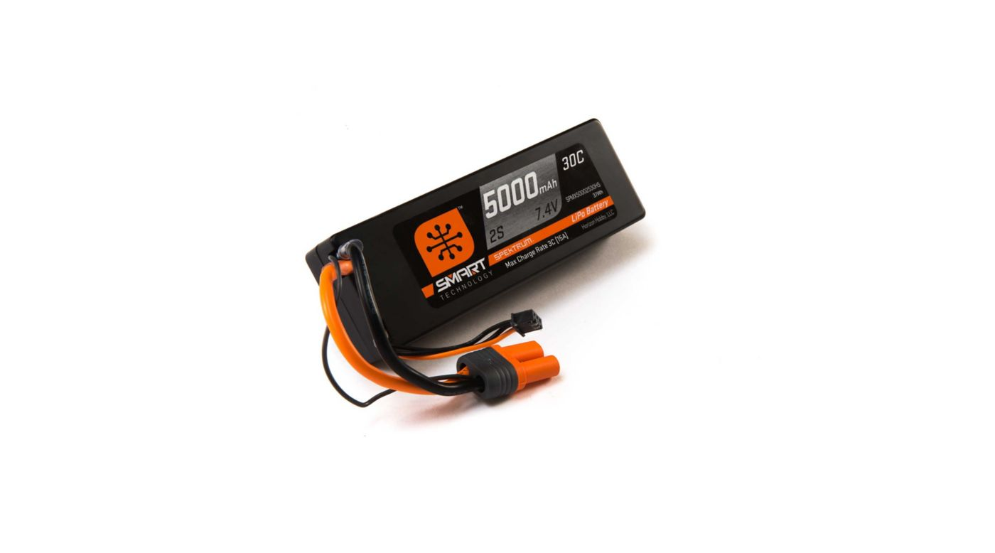 Image for 7.4V 5000mAh 2S 30C Smart LiPo Battery, Hardcase, IC5 from HorizonHobby