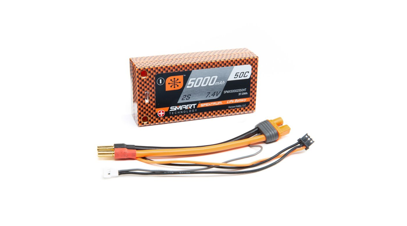 Image for 7.4V 5000mAh 2S 50C Smart LiPo Race Battery Shorty Hardcase, 5mm Tubes from HorizonHobby