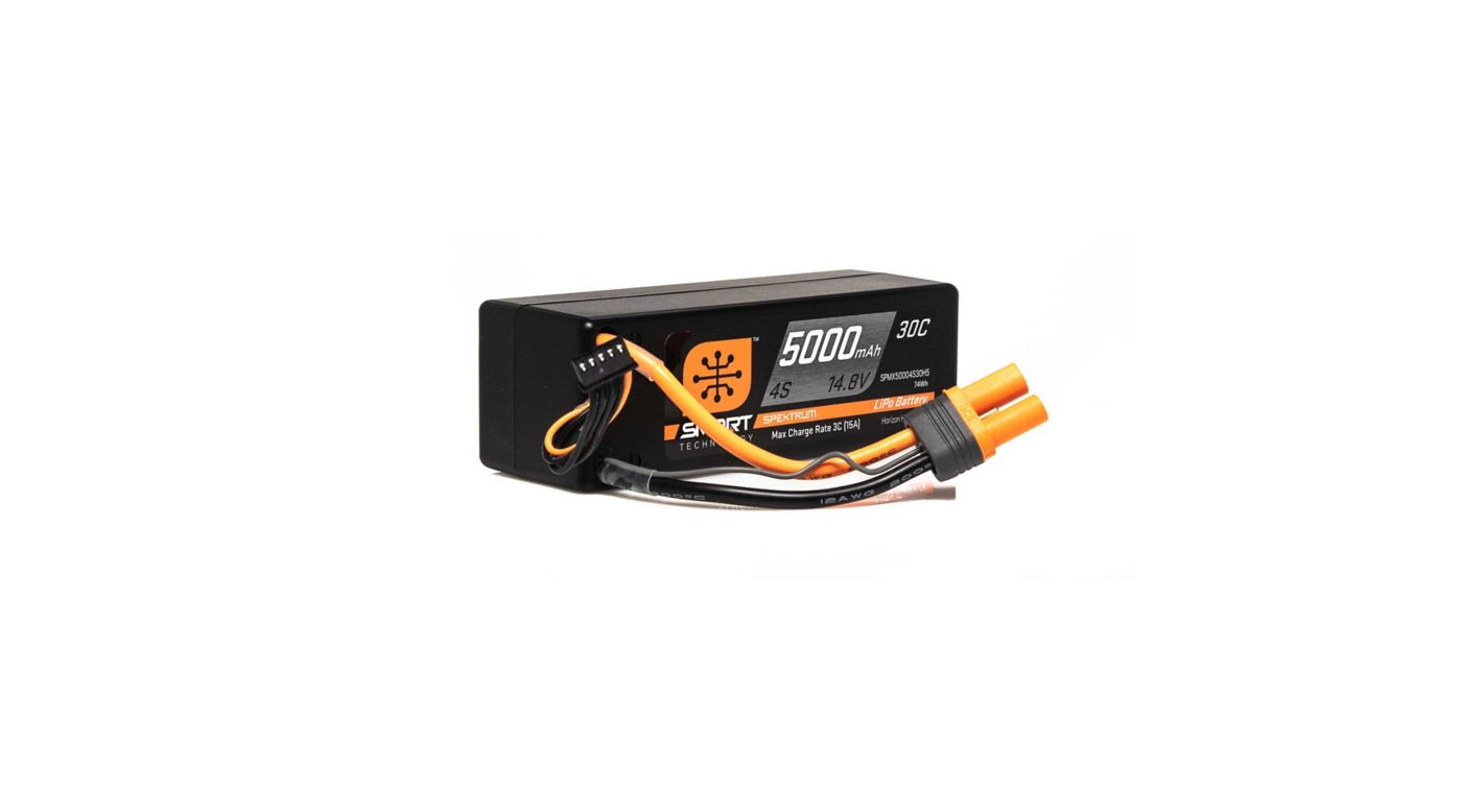 Image for 14.8V 5000mAh 4S 30C Smart LiPo Battery, Hardcase, IC5 from HorizonHobby