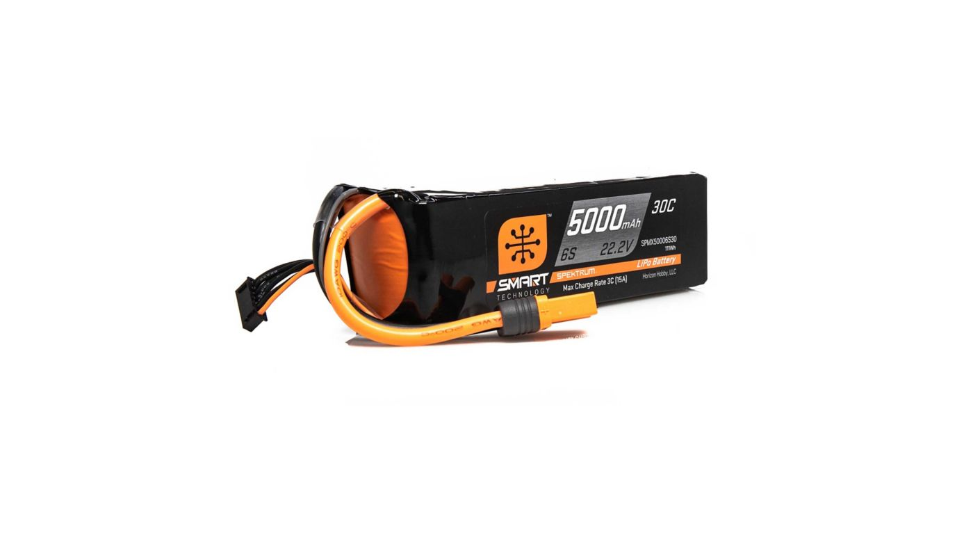 Image for 22.2V 5000mAh 6S 30C Smart LiPo Battery, IC5 from HorizonHobby