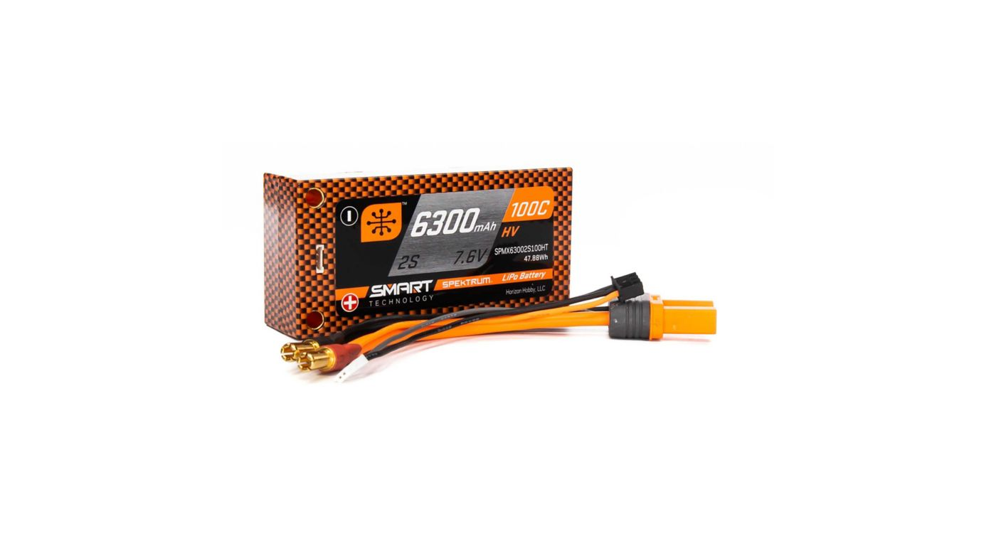 Image for 7.6V 6300mAh 2S 100C Smart Race Shorty Hardcase HV-LiPo Battery: Tubes, 5mm from HorizonHobby