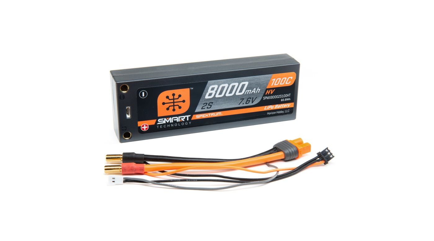 Grafik für 7.6V 8000mAh 2S 100C Smart LiPo Battery, Hardcase 5mm Tubes in Horizon Hobby