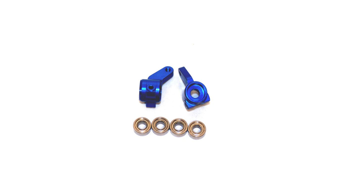 Image for Oversize Aluminum Front Steering Knuckles, Blue: Stamped, Rustler, Bandit, Slash from HorizonHobby