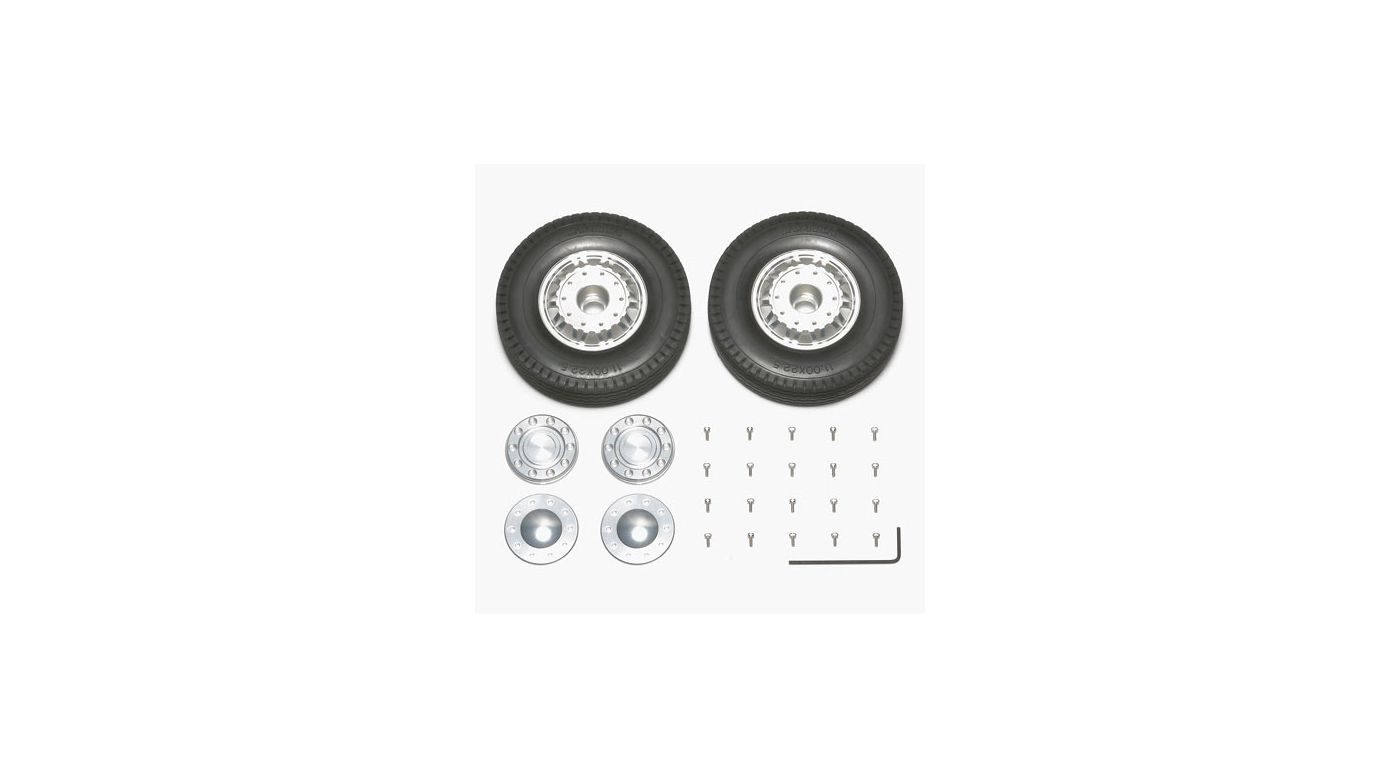 Image for 1/14 Semi 20 Spoke Aluminum Wheels Front (2) from HorizonHobby