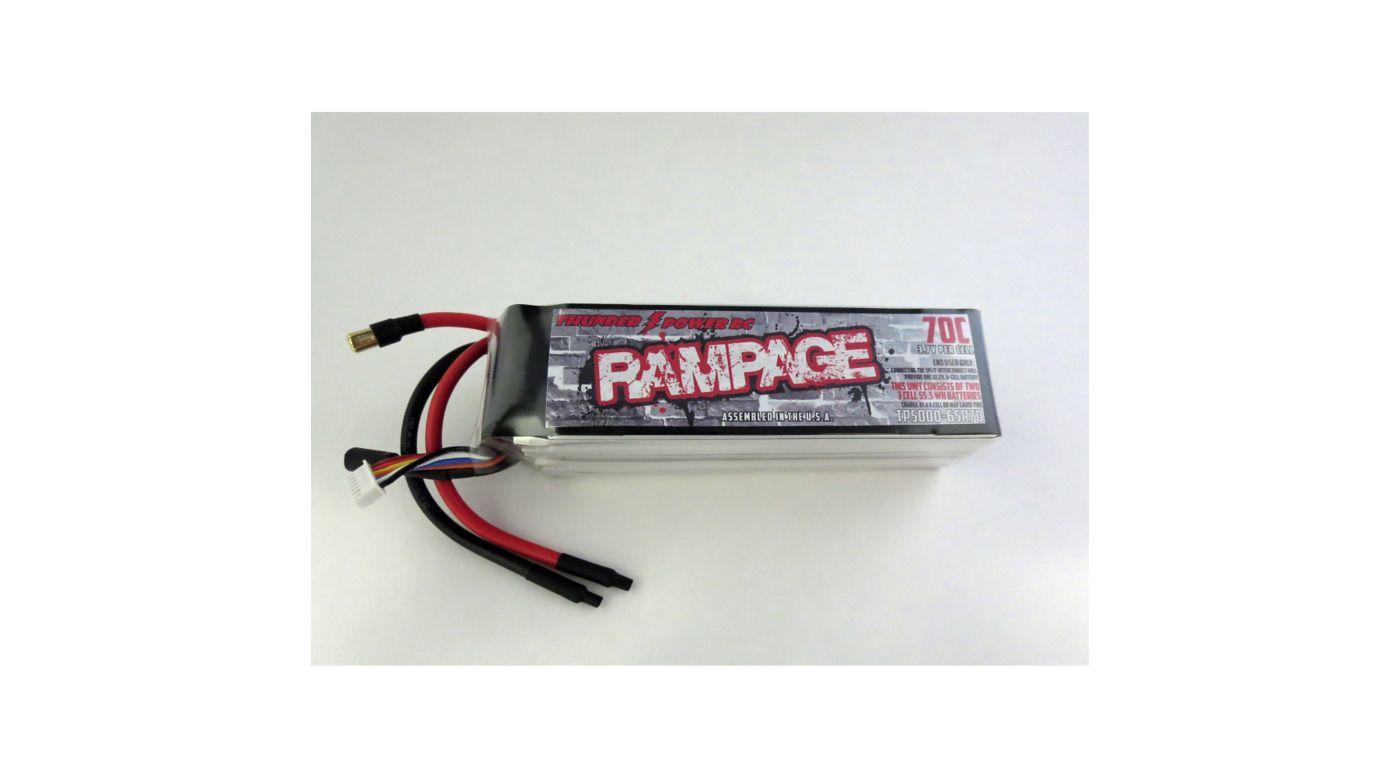 Image for 5000mAh 6-Cell 6S 22.2V Rampage 70C Split Long from HorizonHobby