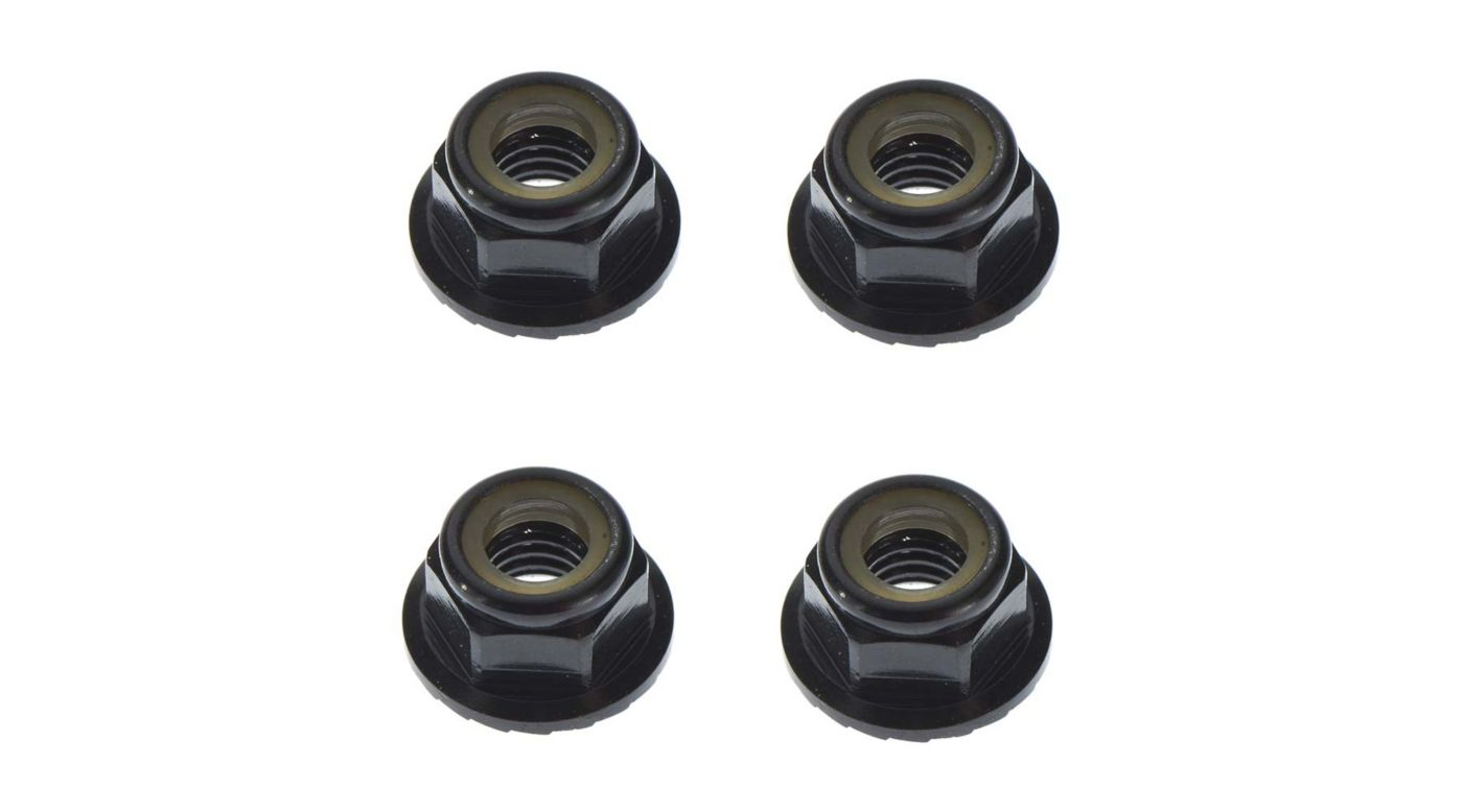 Image for M5 Locknuts Aluminum Flanged Serrated, Black (4) from HorizonHobby