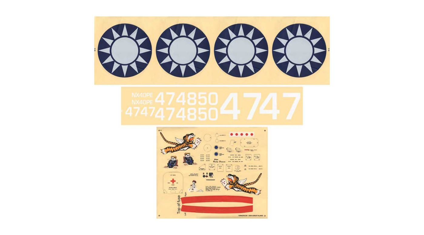 Image for Decal Set: Giant P-40 from HorizonHobby