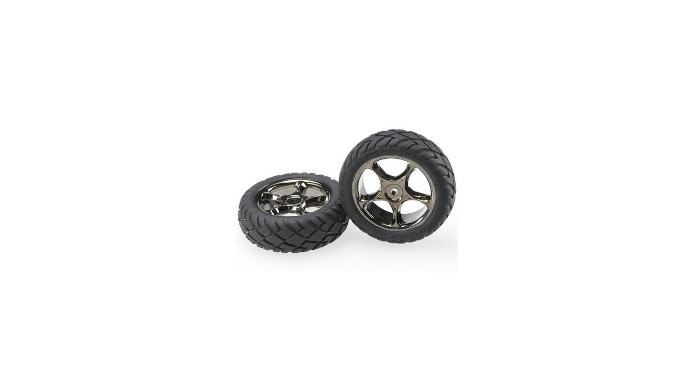 Image for Tracer Blk Chrome Whls w/Anaconda Tires(2), Front: BVXL from HorizonHobby