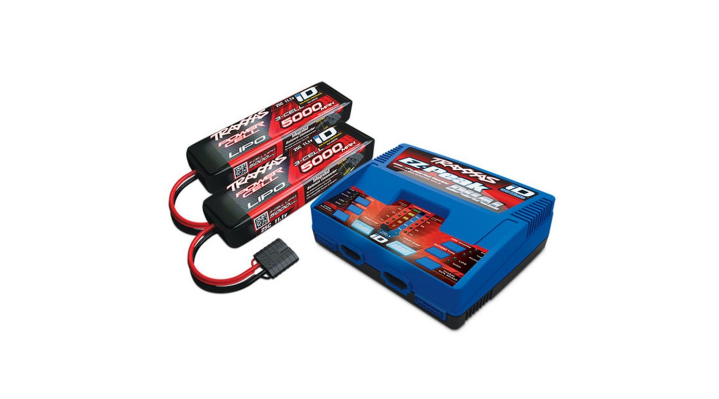 Image for 3S 5000mAh Completer Pack: (2) 11.1V 5000mAh 25C LiPo Battery, (1) EZ-Peak Dual ID Charger from HorizonHobby