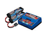 Traxxas - 2S Battery/Charger Combo: (2) 7.4V 7600mAh LiPo Battery, (1) EZ-Peak Dual ID Charger