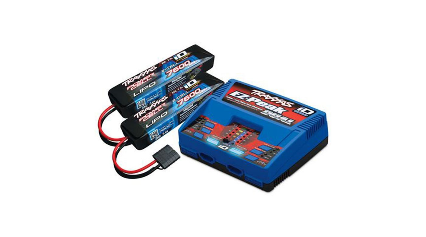 Image for 2S 7600mAh Completer Pack: (2) 7.4V 7600mAh LiPo Battery, (1) EZ-Peak Dual ID Charger from Horizon Hobby