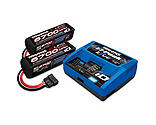Traxxas - 4S Battery/Charger Combo: (2) 14.8V 6700mAh LiPo Battery, (1) EZ-Peak Live ID Charger