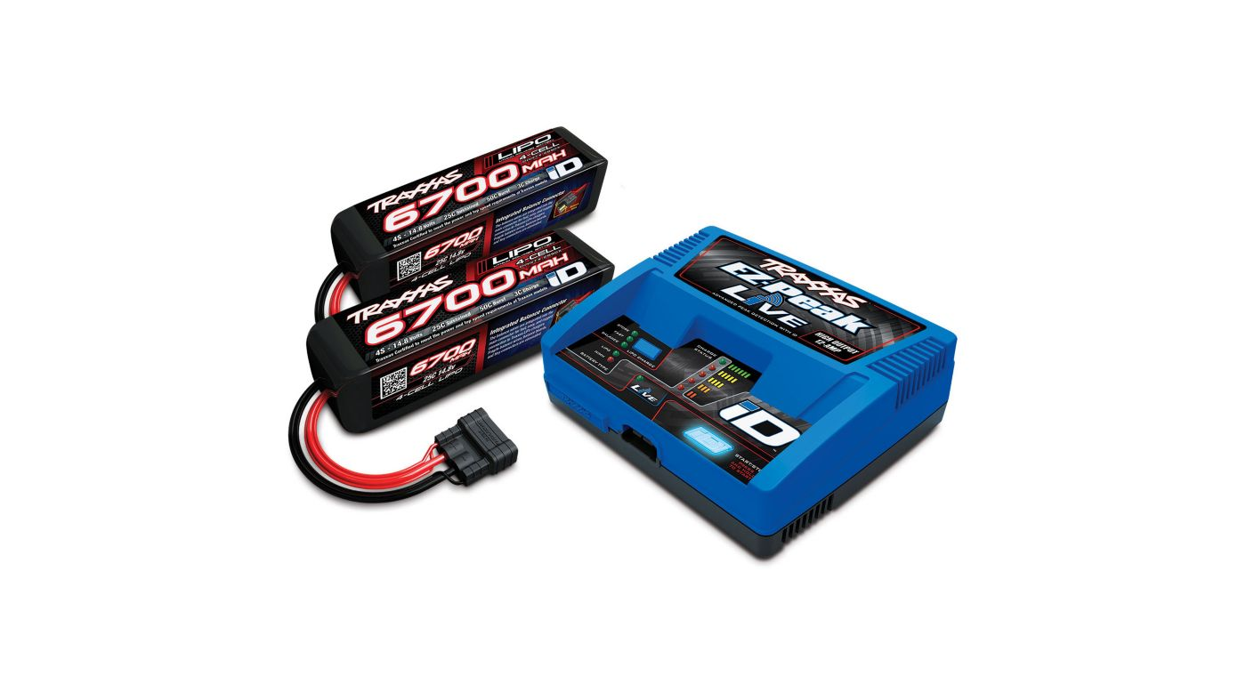 Image for 4S Battery/Charger Combo: (2) 14.8V 6700mAh LiPo Battery, (1) EZ-Peak Live ID Charger from HorizonHobby
