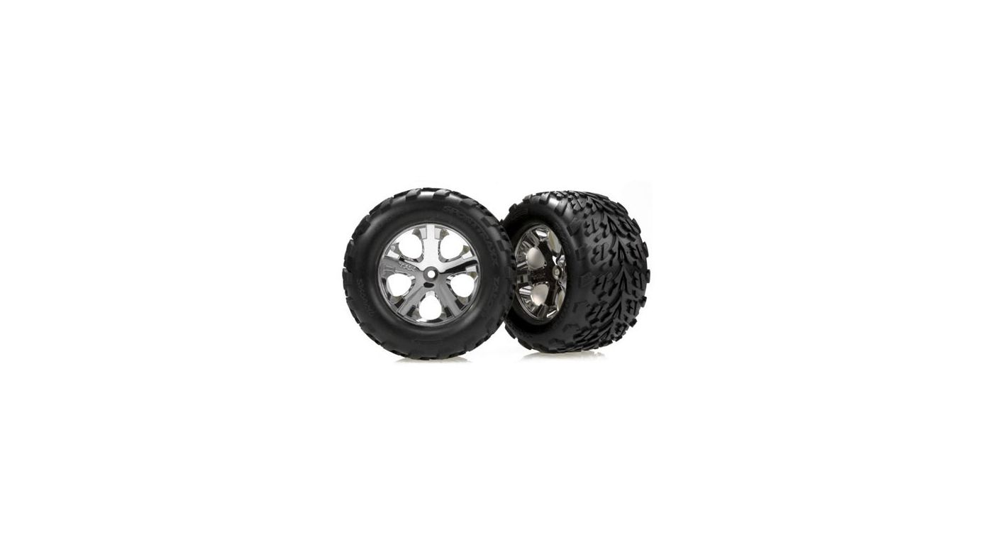Image for Chrome Wheel (Front) w/TalonTire(2):Stampede from HorizonHobby