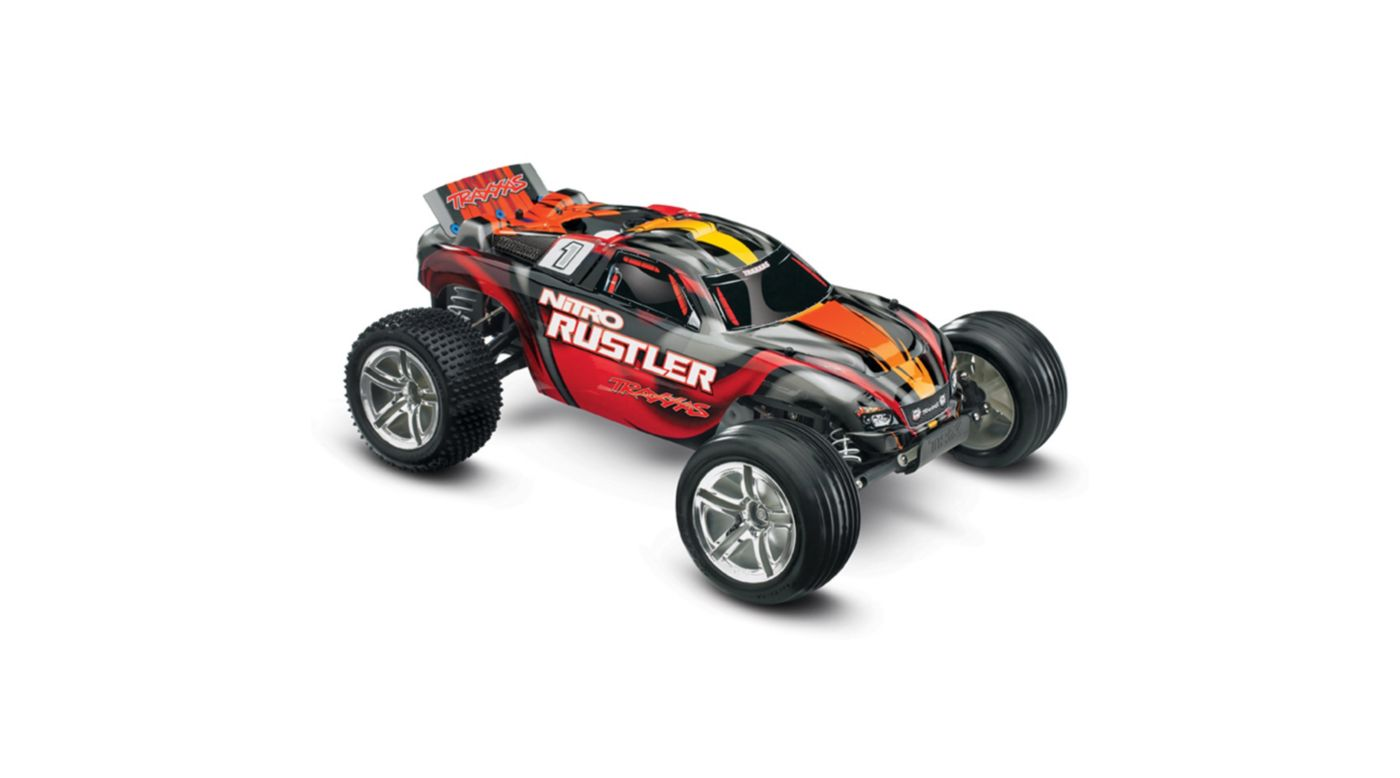 Image for 1/10 Nitro Rustler 2.5 2WD Stadium Truck RTR with TSM, Silver/Red from HorizonHobby