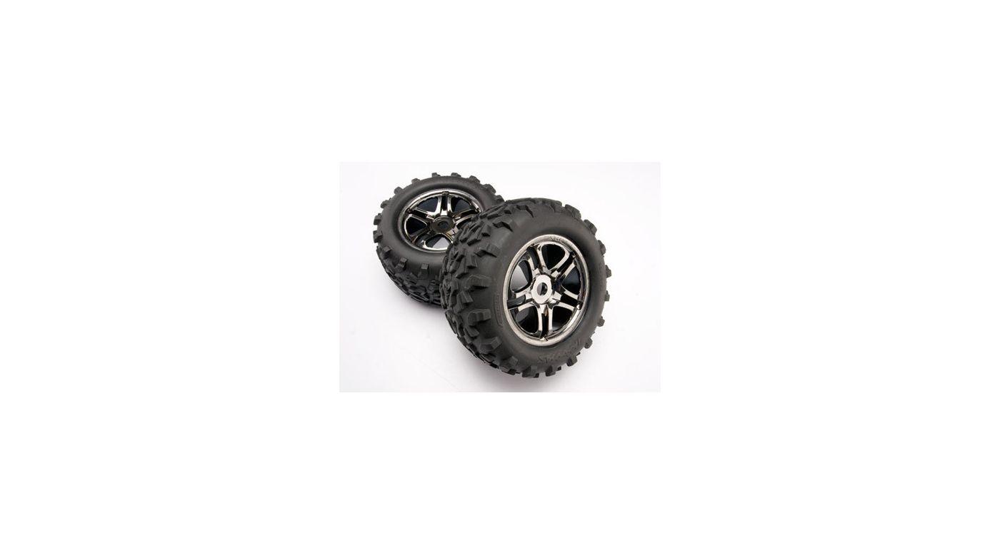 Image for Black Chrome Wheel/Maxx Tire (2): Revo, EMX, TMX from HorizonHobby