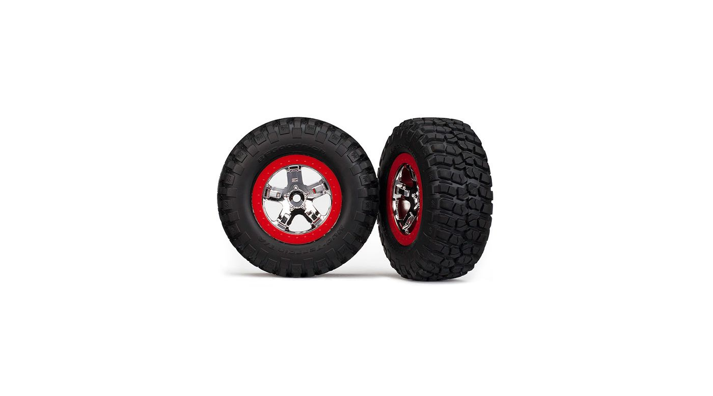 Image for Tires & Whls Asmm Red Beadlock (2)  2WD R 4WD F R from HorizonHobby