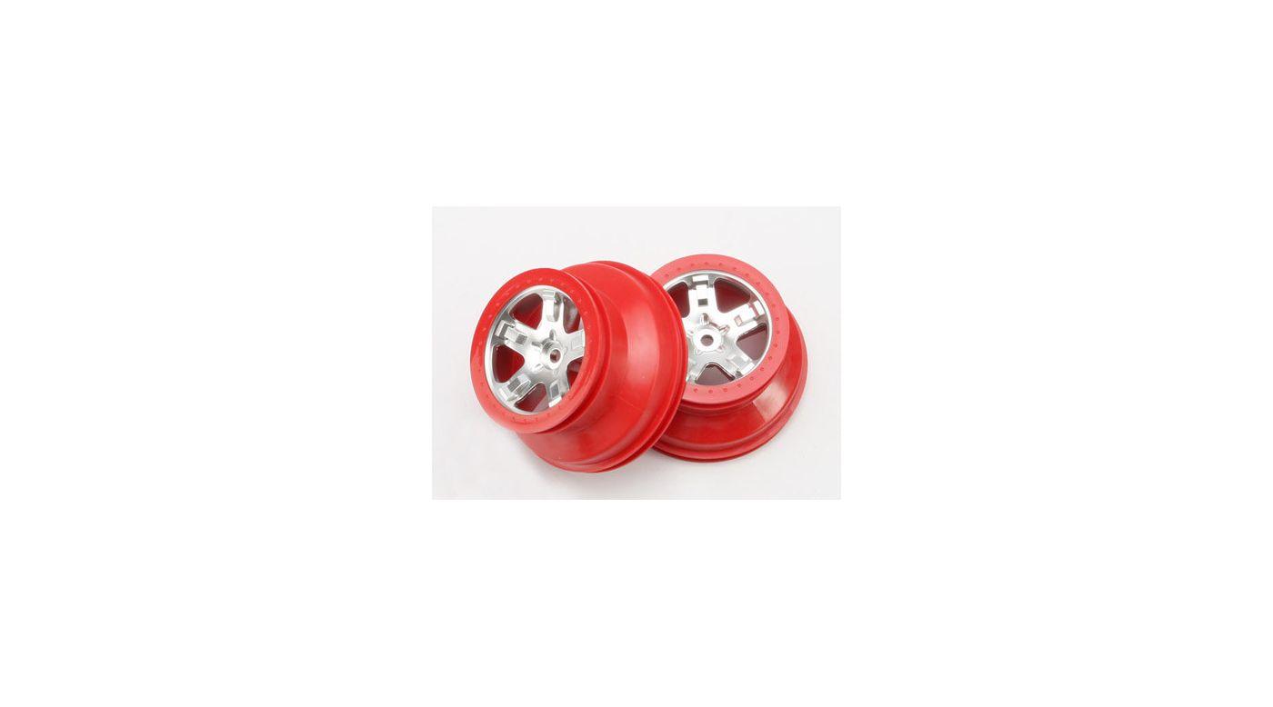 Image for Rear Satin Chrome Wheelsw/Red Beadlock (2):Slash from HorizonHobby