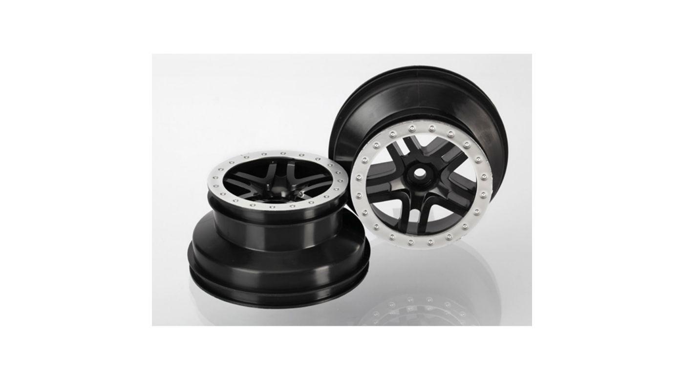 Image for SCT Split-Spoke, Blk Wheel (2): 2WD Rear, 4WD FR/R from HorizonHobby