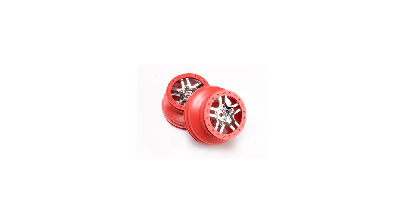 Image for SCT Split Spoke Red Chrome Wheel (2): Rear 2WD SLH, SLH 4x4 from HorizonHobby