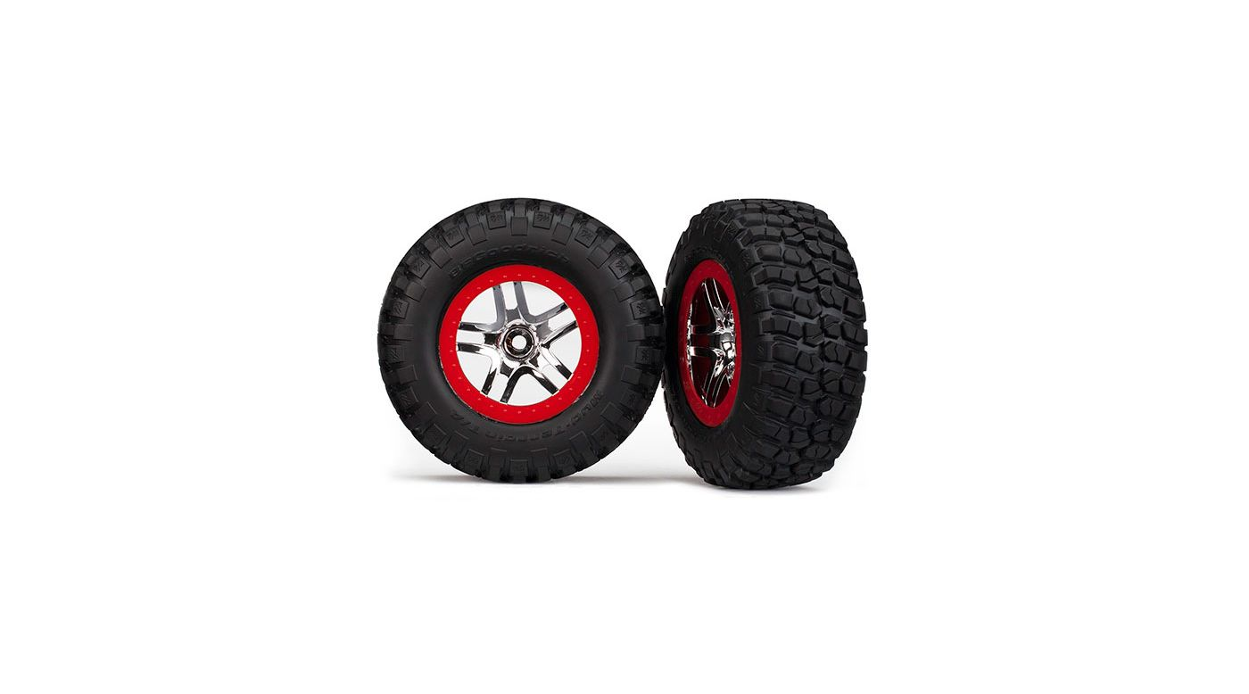 Image for Tire & Wheel Chrome, Red (2): R 2WDSLH, Slash 4x4 from HorizonHobby