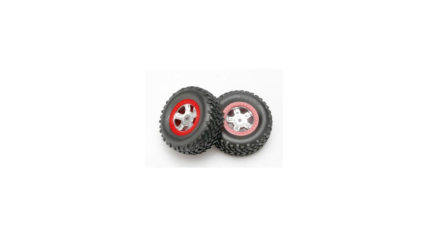 Image for Chrome Wheel,RacingTire,Red Beadlock(2): 1/16 SLH from HorizonHobby