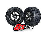Traxxas - Maxx AT Tires and Black Chrome Wheels Glued and Mounted with Foam Inserts (2): X-Maxx