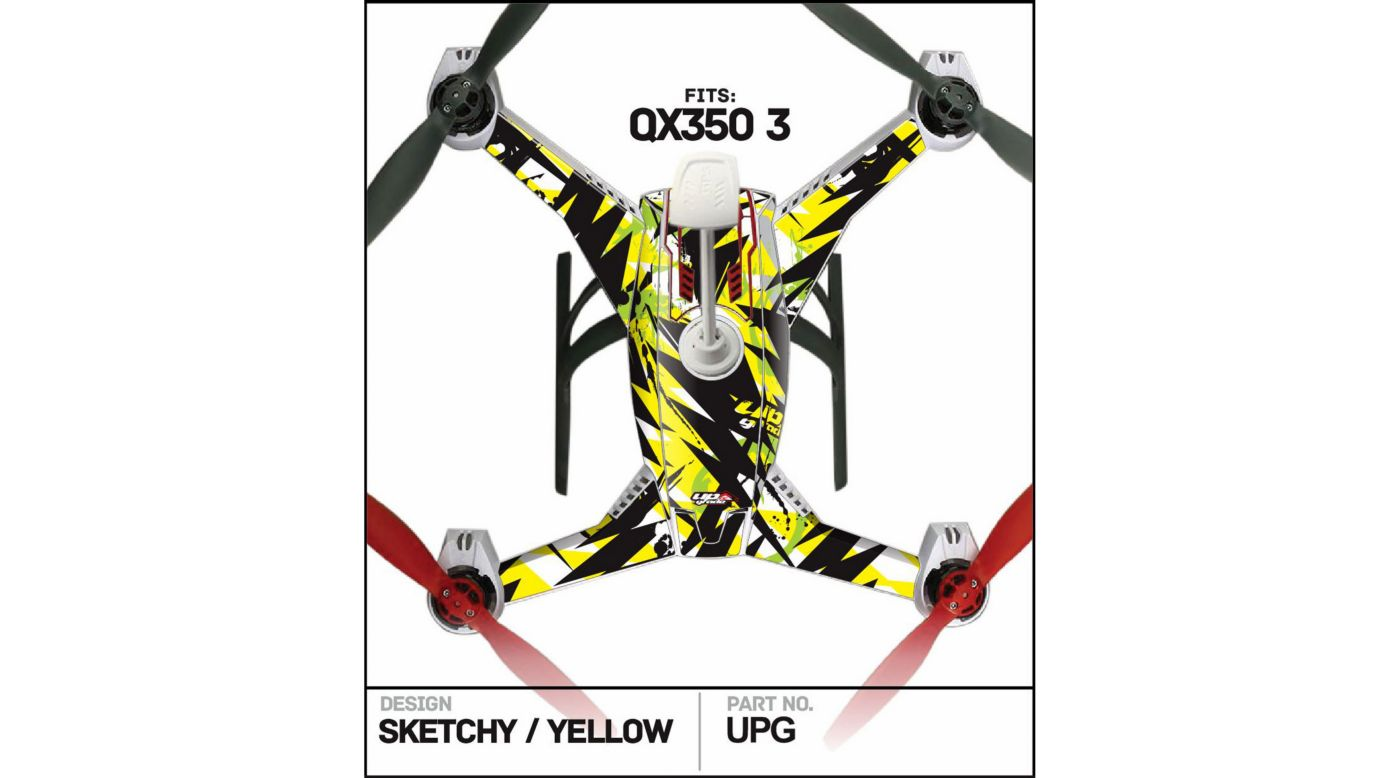 Image for Skin, Sketchy Yellow: Blade 350 QX3 from HorizonHobby