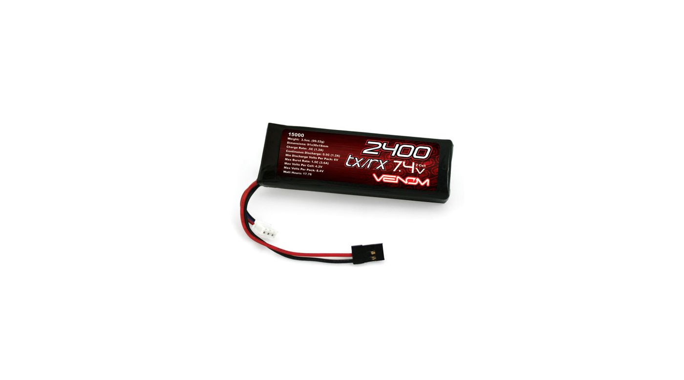 Image for 7.4V 2400mAh 2S DRIVE LiPo Flat Receiver Battery: Universal Receiver from HorizonHobby