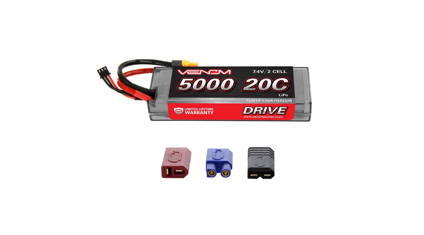 Image for 7.4V 5000mAh 2S 20C DRIVE Hardcase LiPo Battery: UNI 2.0 Plug from HorizonHobby