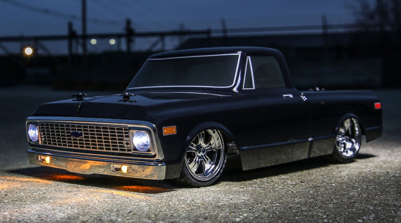 Image for 1/10 1972 Chevy C10 Pickup Truck V-100 S 4WD Brushed RTR, Black from HorizonHobby