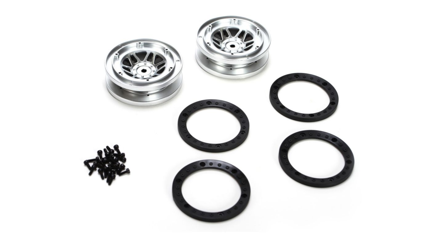 Image for 1/10 Front/Rear 1.9 Beadlock Wheels with Rings (2): Twin Hammers from HorizonHobby