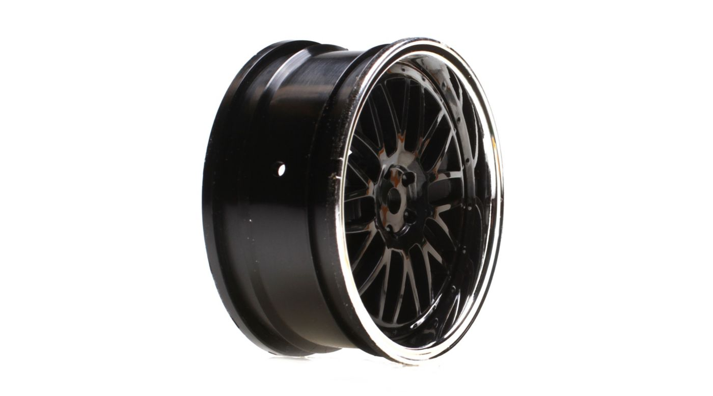 Image for Wheel Front 54x26mm Deep Mesh, Black Chrome (2): V100 from HorizonHobby