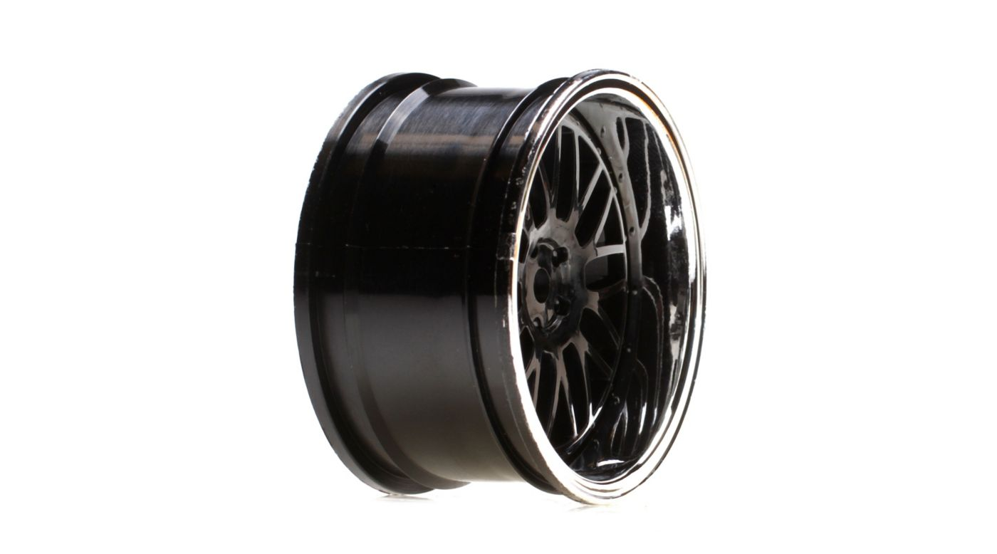 Image for Wheel Rear Deep Mesh 54x30mm, Black/Chrome (2): V100 from HorizonHobby