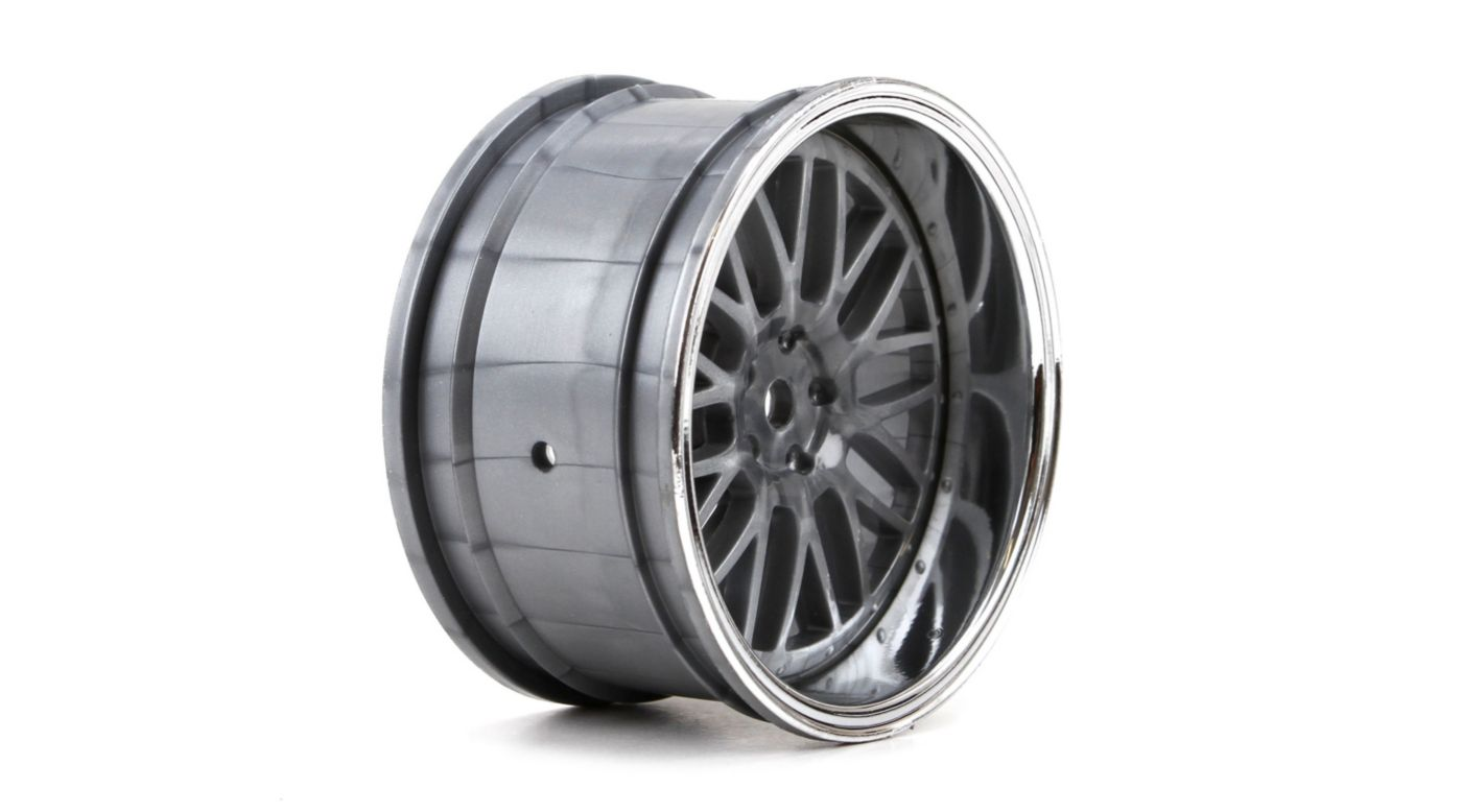 Image for Wheel RR Deep Mesh 54x30mm Chrome & Black (2) from HorizonHobby