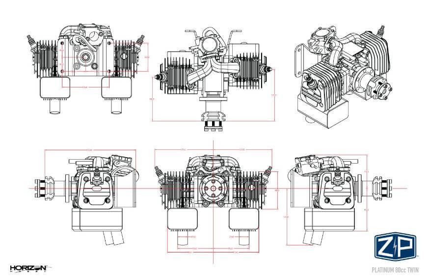 Platinum 80cc Twin Technical Drawing