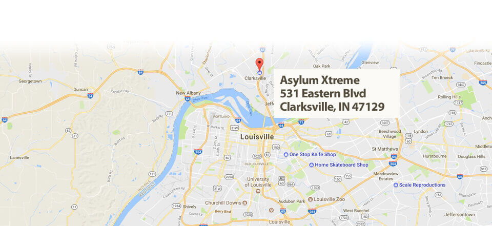 Map and Directions to Asylum Xtreme –  Clarksville, Indiana