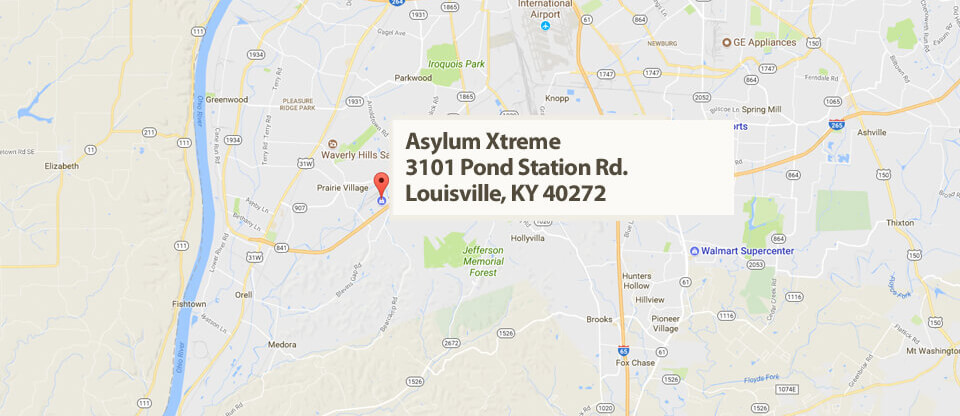 Map and Directions to Asylum Xtreme –  Louisville, Kentucky.