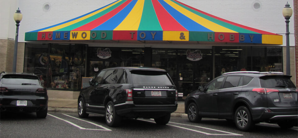 Homewood Toy & Hobby Shop - Outside the store.
