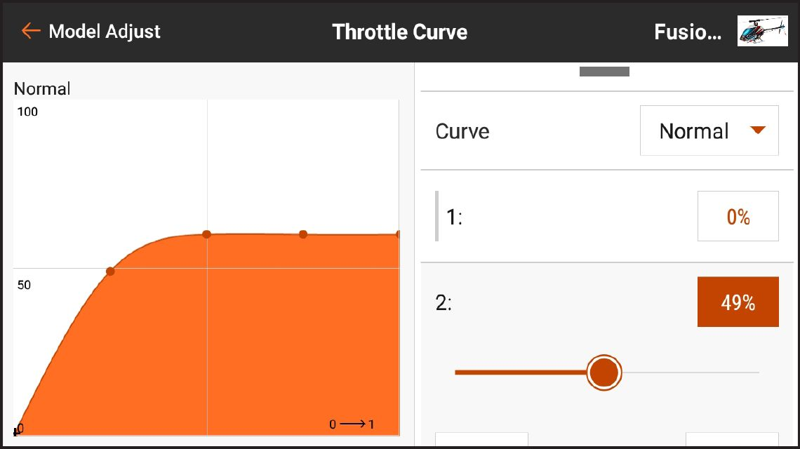 AirWare<sup>™</sup> Touch app Throttle Curve