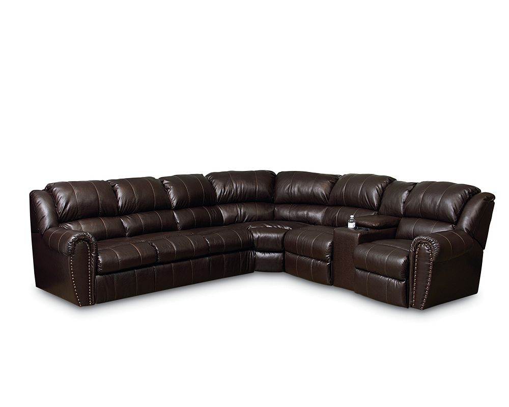 Lane leather reclining sectional sofa refil sofa for Leather sectional sofa lane