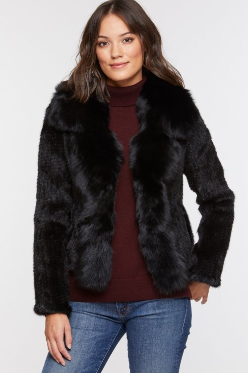 Annabelle Black Knitted Danish Mink Fur Jacket with Fox Fur Trim
