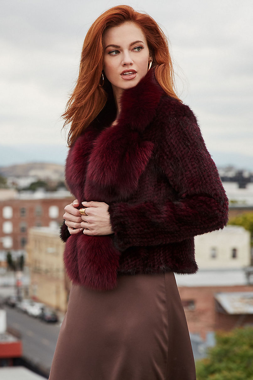 Annabelle Claret Knitted Danish Mink Fur Jacket with Fox Fur Trim