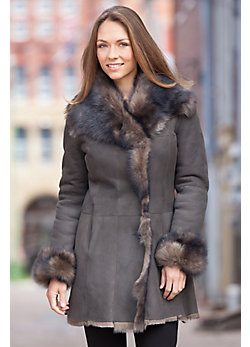 Gala Shearling Sheepskin Coat with Toscana Trim